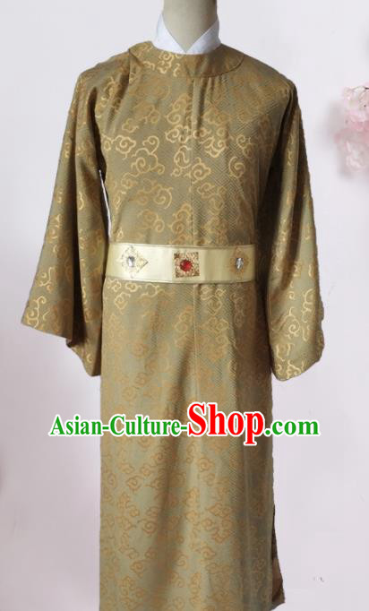 Chinese Traditional Song Dynasty Prince Costume Ancient Minister Khaki Clothing for Men