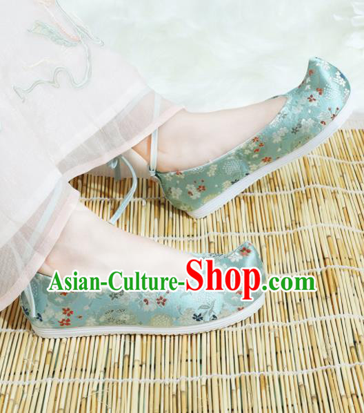 Chinese National Wedding Hanfu Shoes Traditional Princess Blue Satin Shoes Embroidered Shoes for Women