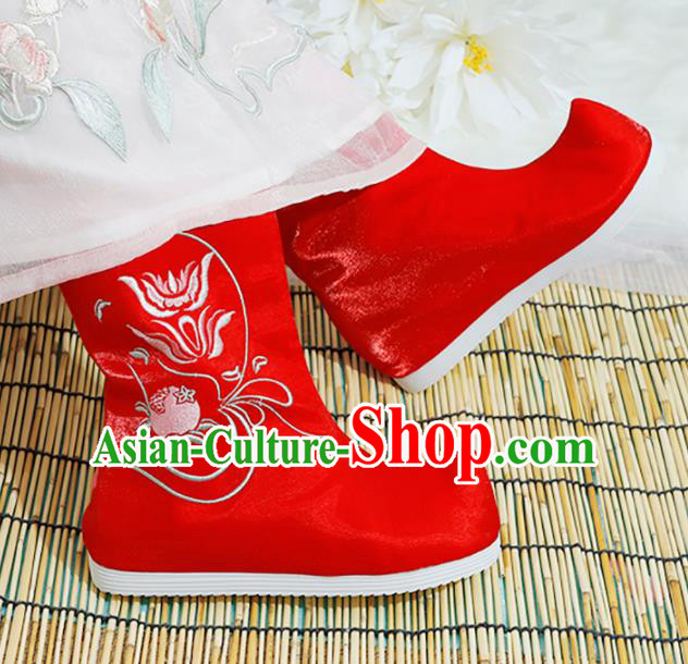 Chinese National Embroidered Flower Red Boots Hanfu Shoes Traditional Princess Shoes Ancient Shoes for Women