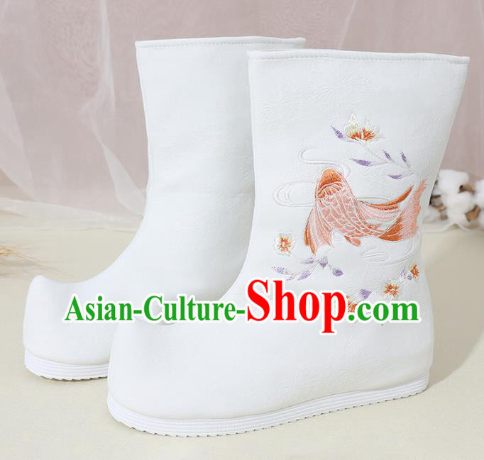 Chinese National Embroidered Carp White Boots Hanfu Shoes Traditional Princess Shoes Ancient Shoes for Women