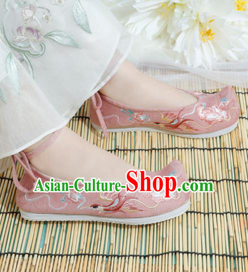 Chinese National Embroidered Phoenix Peony Pink Shoes Ancient Traditional Princess Shoes Hanfu Shoes for Women