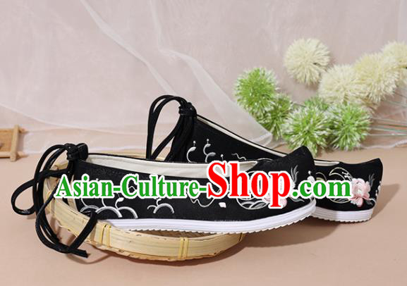 Chinese National Embroidered Peony Black Shoes Ancient Traditional Princess Shoes Hanfu Shoes for Women