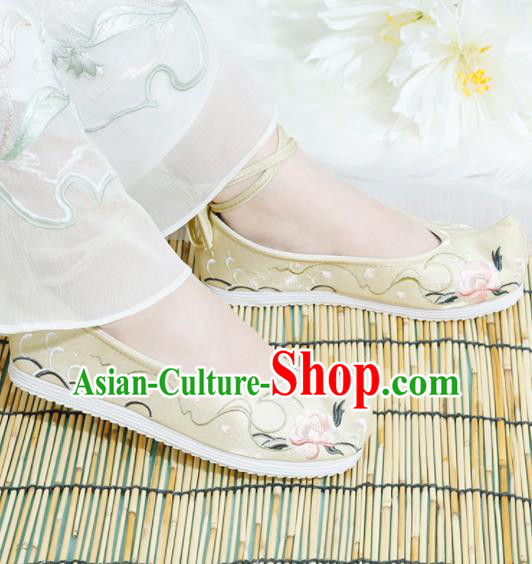 Chinese National Embroidered Peony Yellow Shoes Ancient Traditional Princess Shoes Hanfu Shoes for Women
