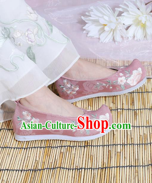 Chinese National Embroidered Peach Blossom Pink Shoes Ancient Traditional Princess Shoes Hanfu Shoes for Women