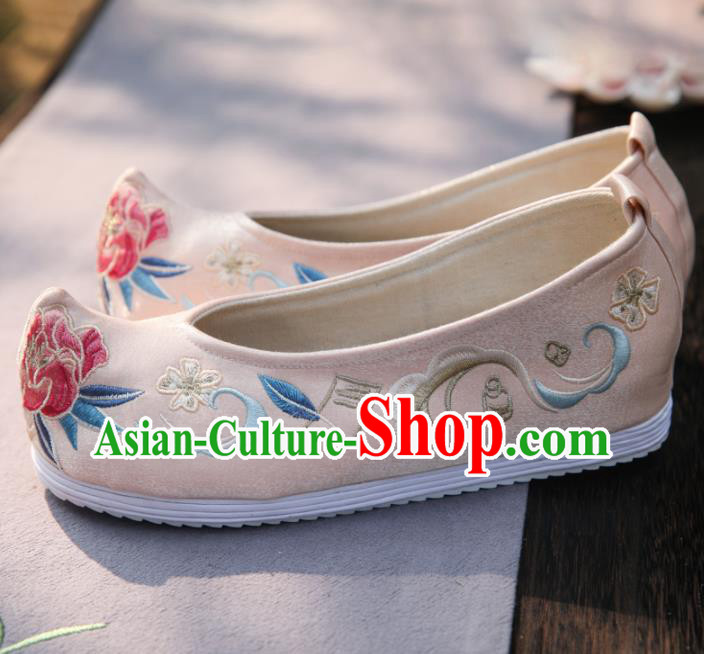 Traditional Chinese National Embroidered Peony Pink Shoes Ancient Princess Cloth Shoes Handmade Hanfu Shoes for Women