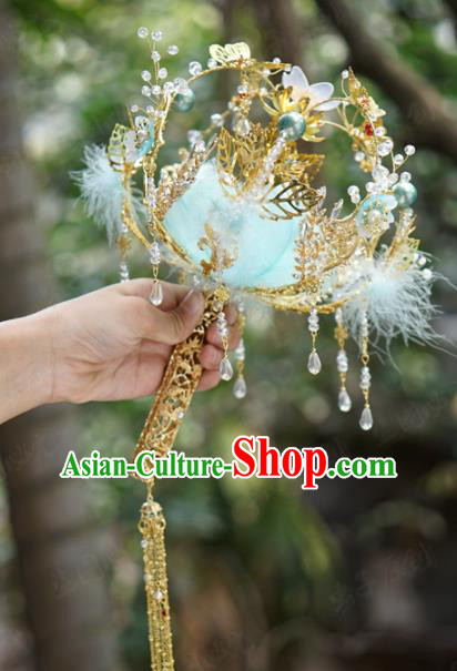 Traditional Chinese Wedding Accessories Ancient Bride Blue Feather Bouquet for Women