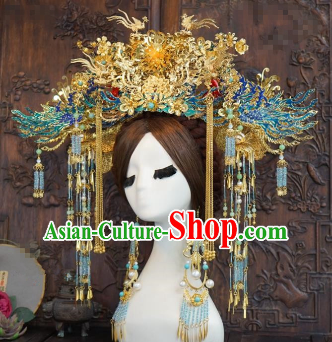 Traditional Chinese Wedding Hair Accessories Blueing Phoenix Coronet Ancient Bride Hairpins Complete Set for Women