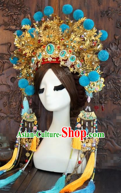 Traditional Chinese Wedding Hair Accessories Blue Venonat Phoenix Coronet Ancient Bride Hairpins Complete Set for Women