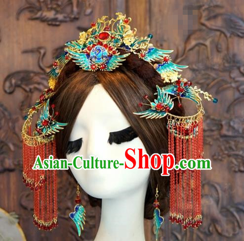 Traditional Chinese Wedding Hair Accessories Cloisonne Phoenix Coronet Ancient Bride Hairpins Complete Set for Women