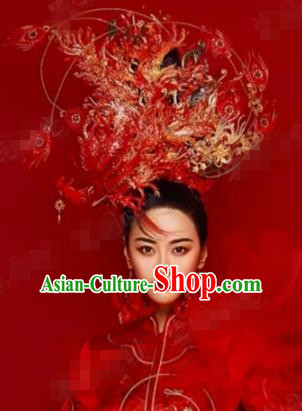Traditional Chinese Wedding Hair Accessories Red Feather Phoenix Coronet Ancient Bride Hairpins Complete Set for Women