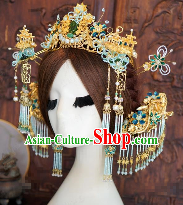 Traditional Chinese Wedding Phoenix Coronet Hair Accessories Ancient Bride Hairpins Complete Set for Women