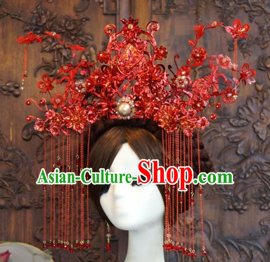 Traditional Chinese Wedding Luxury Red Phoenix Coronet Hair Accessories Ancient Bride Tassel Hairpins Complete Set for Women