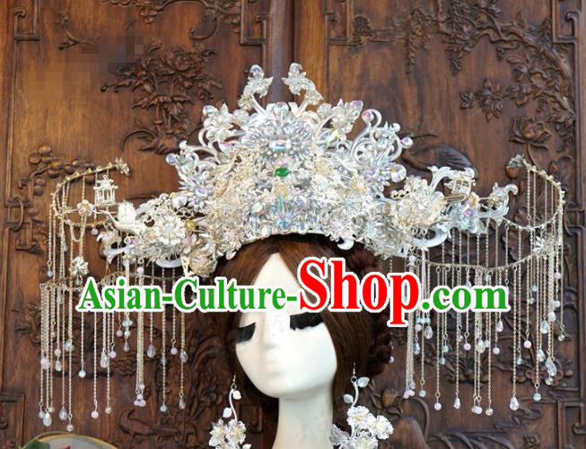Traditional Chinese Wedding Luxury Tassel Phoenix Coronet Hair Accessories Ancient Bride Hairpins Complete Set for Women