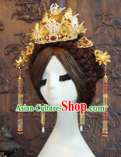 Traditional Chinese Wedding Hair Accessories Luxury Pearls Phoenix Coronet Ancient Bride Hairpins Complete Set for Women
