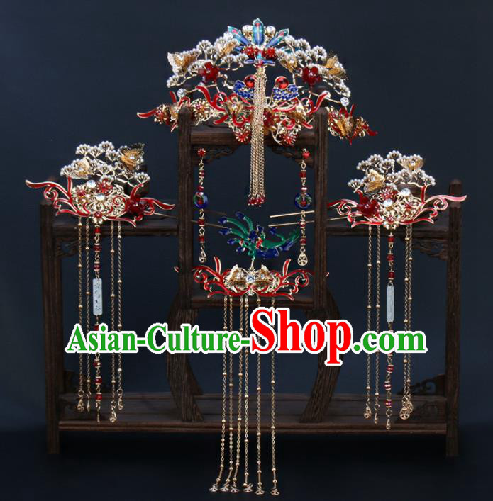 Traditional Chinese Wedding Pine Phoenix Coronet Luxury Hair Accessories Ancient Bride Hairpins Complete Set for Women