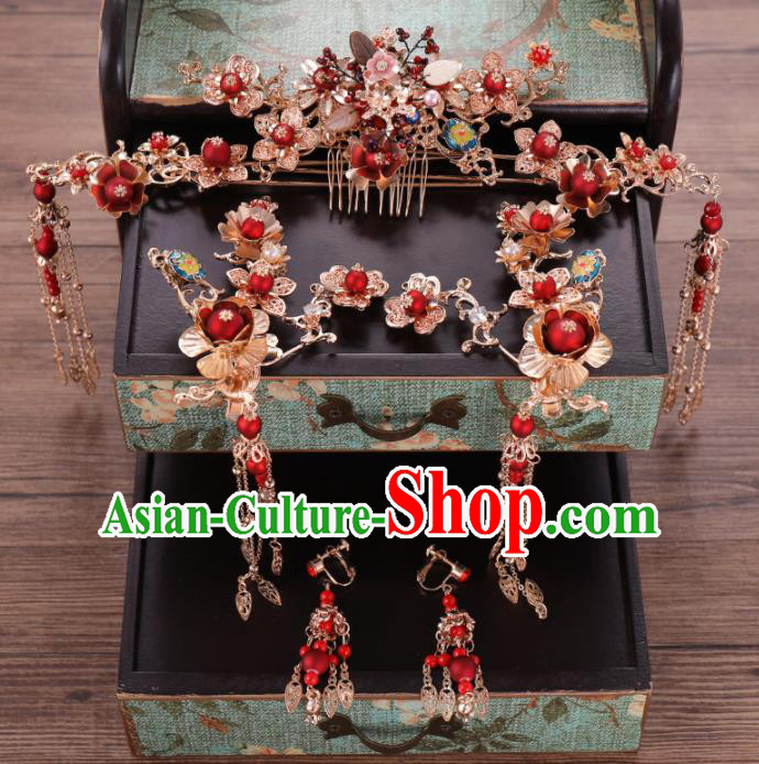 Traditional Chinese Wedding Hair Comb Luxury Hair Accessories Ancient Bride Hairpins Complete Set for Women