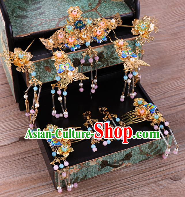 Traditional Chinese Wedding Blueing Hair Comb Luxury Hair Accessories Ancient Bride Hairpins Complete Set for Women