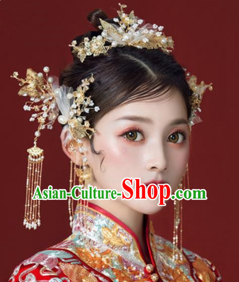 Traditional Chinese Wedding Hair Clips Hair Accessories Ancient Bride Tassel Hairpins Complete Set for Women
