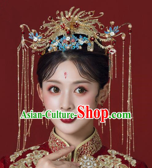 Traditional Chinese Wedding Court Phoenix Coronet Hair Accessories Ancient Bride Tassel Hairpins Complete Set for Women