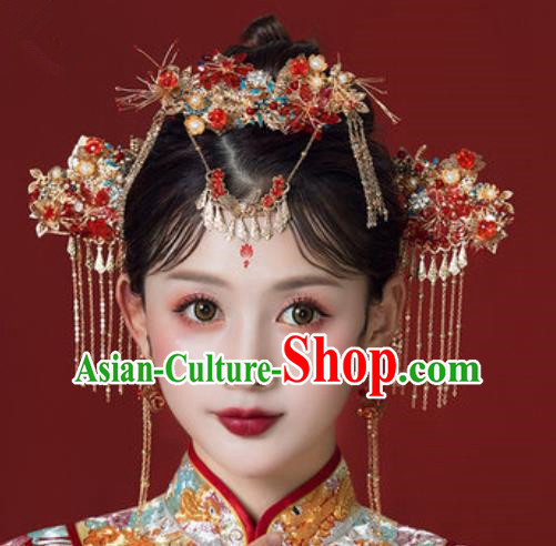 Traditional Chinese Wedding Court Hair Crown Hair Accessories Ancient Bride Tassel Hairpins Complete Set for Women