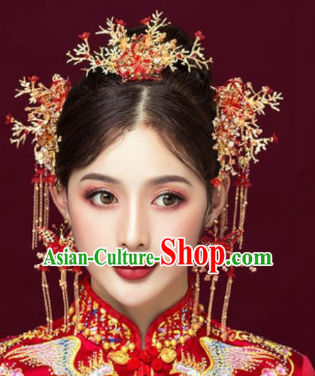 Traditional Chinese Wedding Butterfly Phoenix Coronet Luxury Hair Accessories Ancient Bride Hairpins Complete Set for Women
