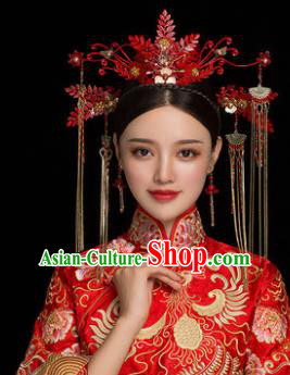 Traditional Chinese Handmade Wedding Red Phoenix Coronet Ancient Bride Hairpins Luxury Hair Accessories Complete Set