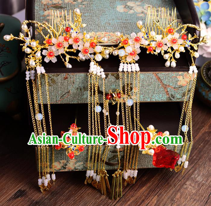 Traditional Chinese Handmade Wedding Plum Hair Combs Ancient Bride Hairpins Luxury Hair Accessories Complete Set