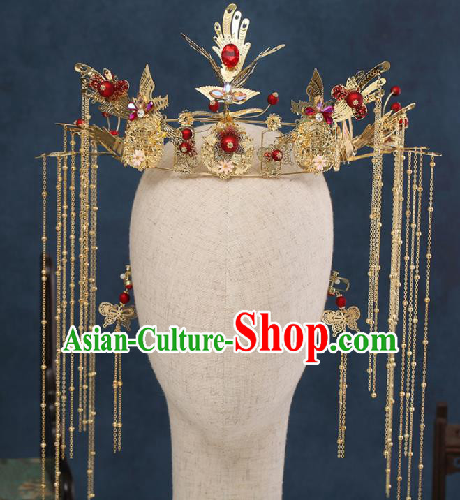 Traditional Chinese Wedding Phoenix Coronet Handmade Ancient Bride Hairpins Hair Accessories Complete Set