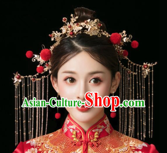 Traditional Chinese Wedding Phoenix Coronet Hair Accessories Ancient Bride Tassel Hairpins Complete Set for Women
