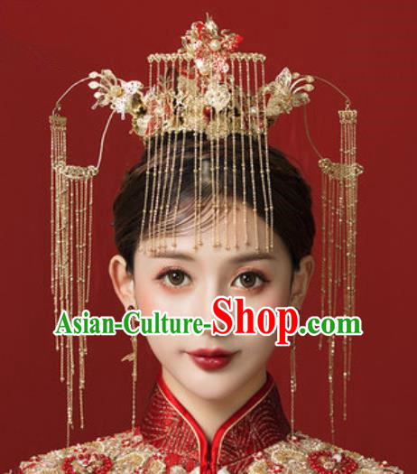 Traditional Chinese Wedding Red Butterfly Phoenix Coronet Hair Accessories Ancient Bride Tassel Hairpins Complete Set for Women