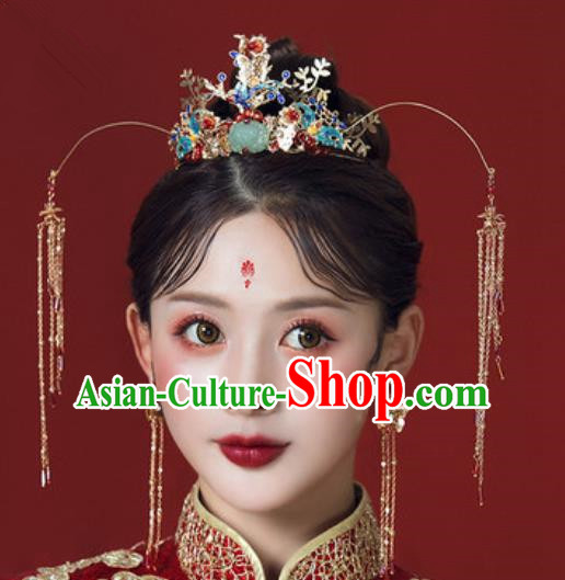 Traditional Chinese Wedding Lotus Phoenix Coronet Hair Accessories Ancient Bride Tassel Hairpins Complete Set for Women