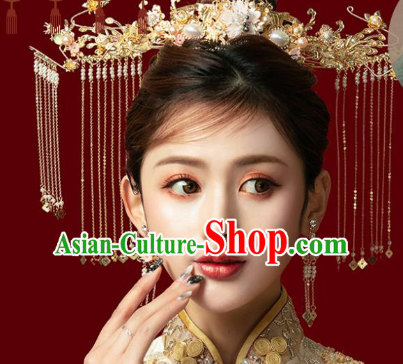 Traditional Chinese Ginkgo Wedding Phoenix Coronet Hair Accessories Ancient Bride Tassel Hairpins Complete Set