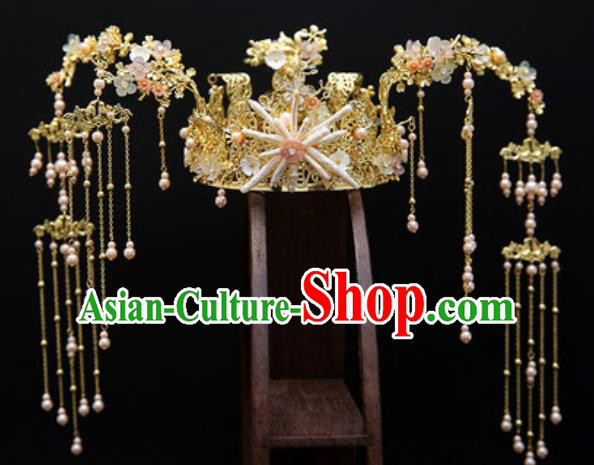 Traditional Chinese Wedding Conch Phoenix Coronet Hair Accessories Ancient Bride Tassel Hairpins Complete Set