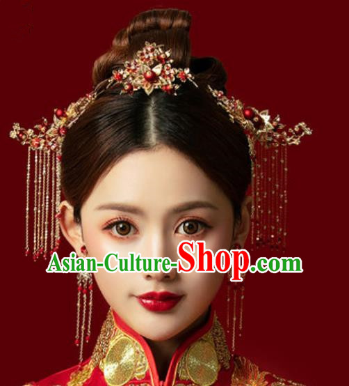 Traditional Chinese Wedding Hair Accessories Ancient Bride Tassel Hairpins Complete Set