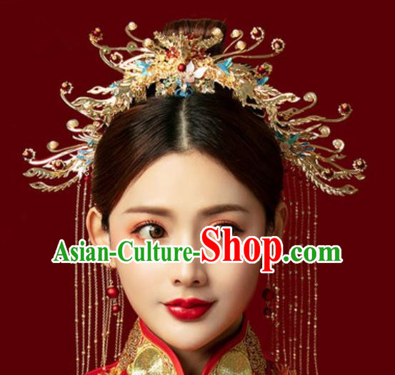 Traditional Chinese Wedding Phoenix Coronet Hair Accessories Ancient Bride Tassel Hairpins Complete Set