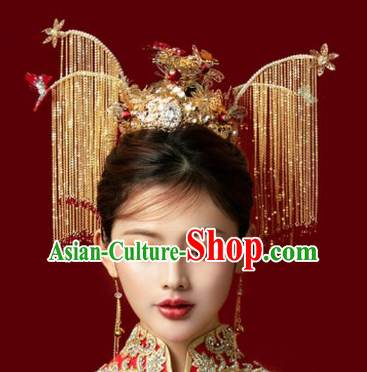 Traditional Chinese Wedding Luxury Tassel Phoenix Coronet Hair Accessories Ancient Bride Hairpins Complete Set