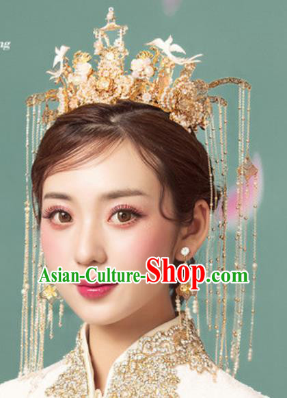 Traditional Chinese Wedding Luxury Pine Tassel Phoenix Coronet Hair Accessories Ancient Bride Hairpins Complete Set