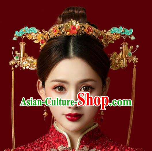 Traditional Chinese Wedding Luxury Blueing Cloud Phoenix Coronet Hair Accessories Ancient Bride Hairpins Complete Set