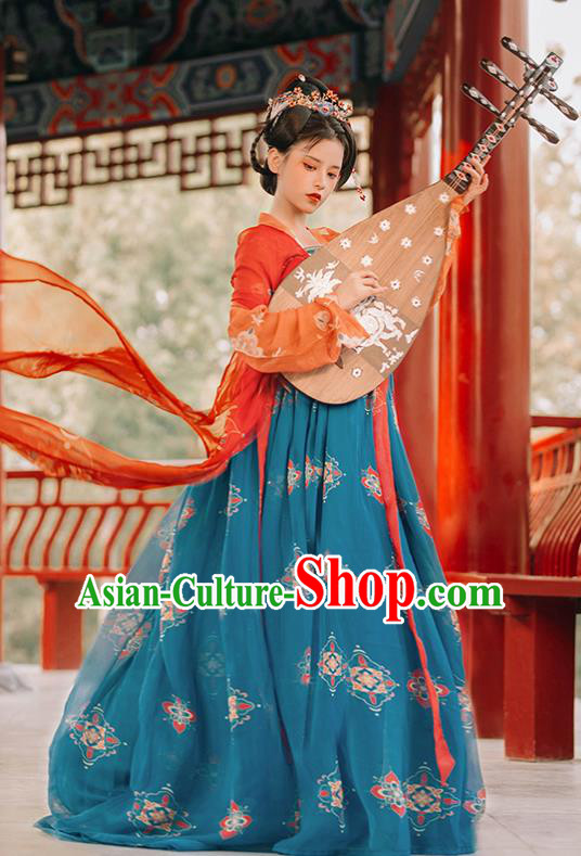 Traditional Chinese Tang Dynasty Imperial Concubine Replica Costumes Ancient Flying Apsaras Green Hanfu Dress for Women
