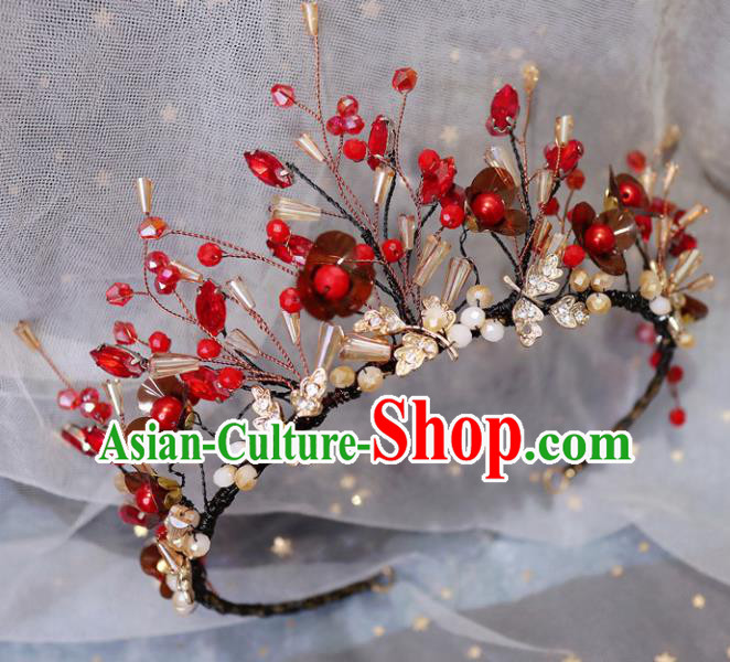Handmade Baroque Princess Red Flowers Royal Crown Children Hair Clasp Hair Accessories for Kids