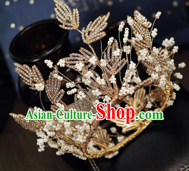 Handmade Baroque Princess Golden Crystal Royal Crown Children Hair Clasp Hair Accessories for Kids