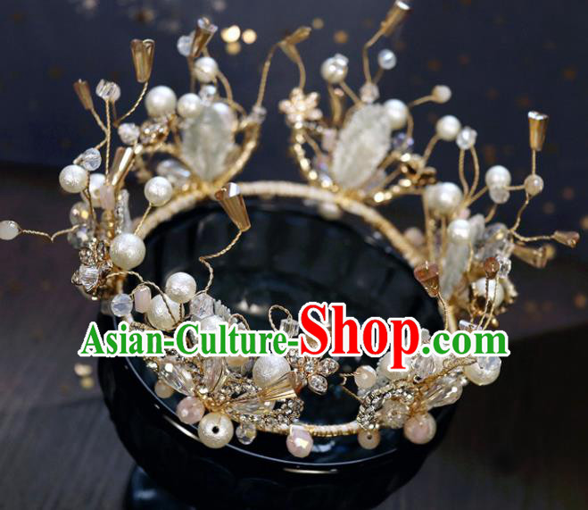 Handmade Baroque Princess Crystal Beads Royal Crown Children Hair Clasp Hair Accessories for Kids
