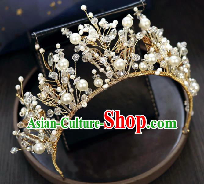 Handmade Baroque Princess Rhinestone Royal Crown Children Hair Clasp Hair Accessories for Kids