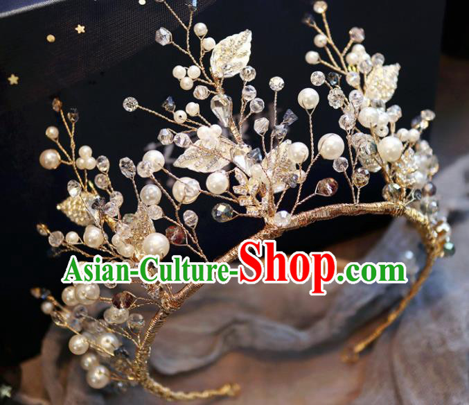 Handmade Baroque Princess Rhinestone Leaf Royal Crown Children Hair Clasp Hair Accessories for Kids