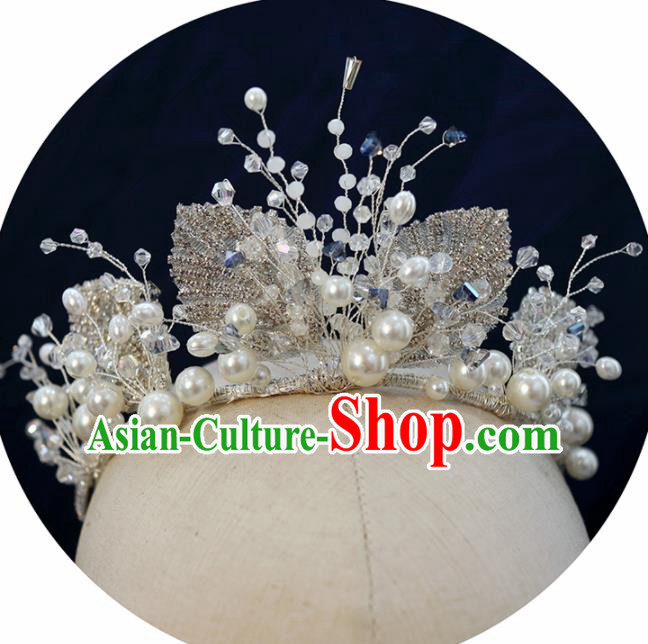 Handmade Baroque Princess Crystal Leaf Royal Crown Children Hair Clasp Hair Accessories for Kids