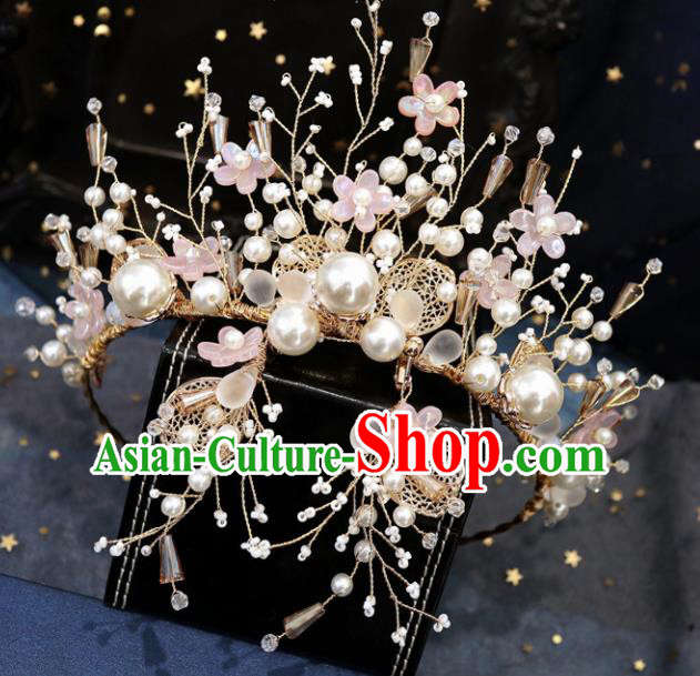 Handmade Baroque Princess Pink Flowers Royal Crown Children Hair Clasp Hair Accessories for Kids
