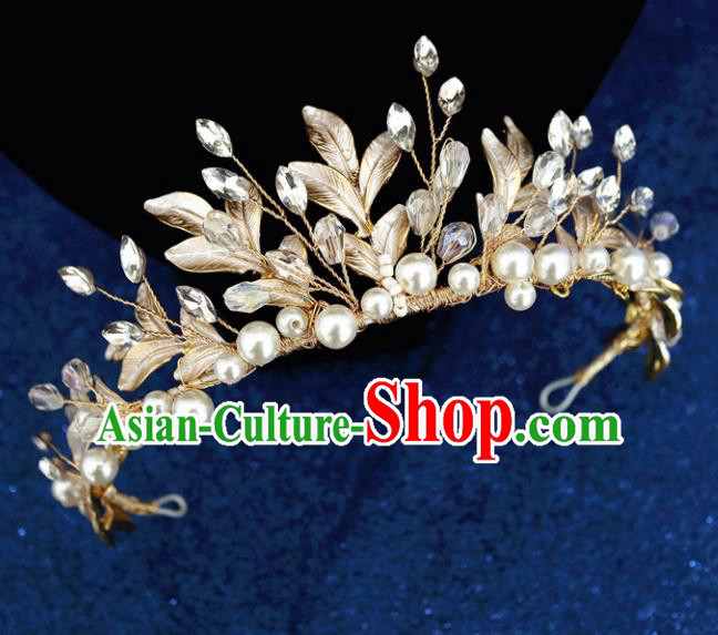Handmade Baroque Princess Golden Leaf Pearls Royal Crown Children Hair Clasp Hair Accessories for Kids