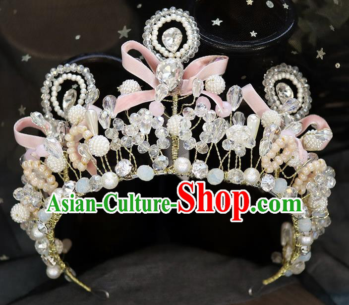 Handmade Baroque Princess Pearls Pink Bowkont Royal Crown Children Hair Clasp Hair Accessories for Kids