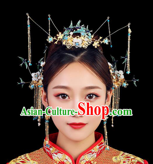Traditional Chinese Wedding Handmade Blueing Birds Phoenix Coronet Ancient Bride Hairpins Hair Accessories Complete Set