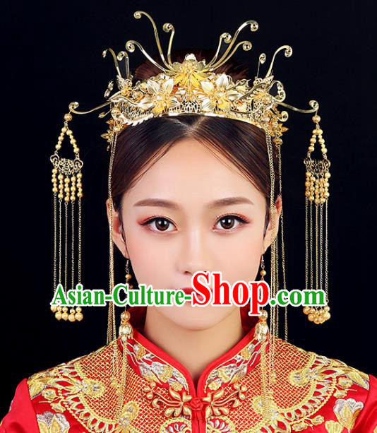 Traditional Chinese Wedding Handmade Golden Phoenix Coronet Ancient Bride Hairpins Hair Accessories Complete Set
